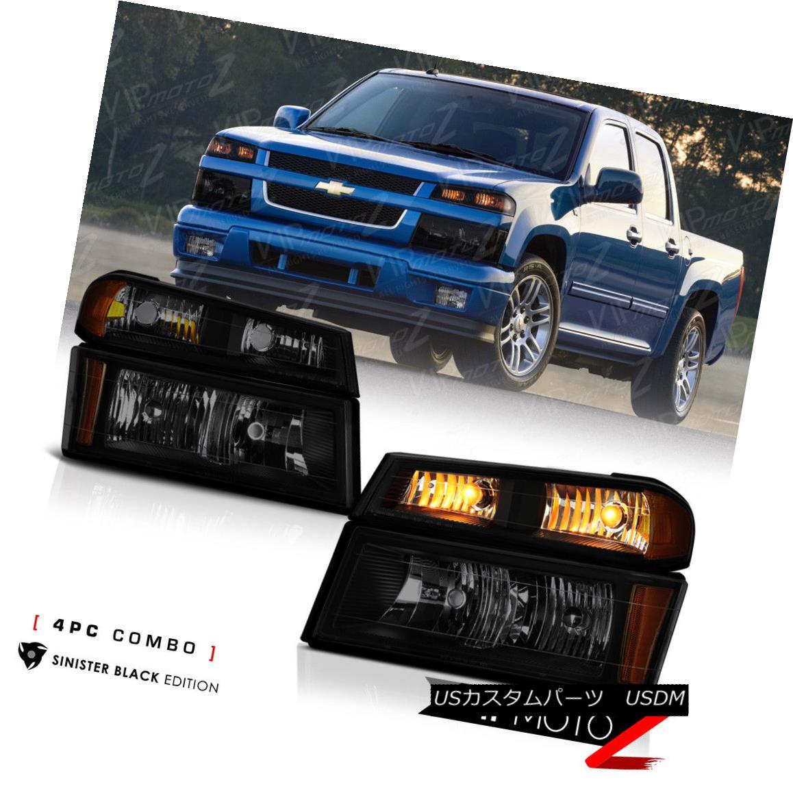 ヘッドライト [SINISTER BLACK] 2004-2012 Chevy Colorado Bumper Signal Headlight Lamp 4PC Combo [SINISTER BLACK] 2004-2012シボレーコロラドバンパーシグナルヘッドライトランプ4PCコンボ