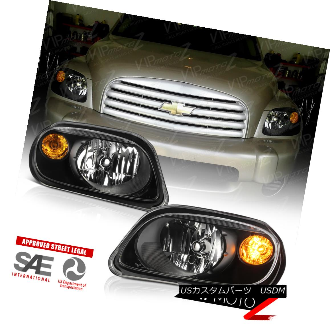 ヘッドライト 2006-2011 Chevy HHR LS LT 2LT SS Black LEFT+RIGHT Headlights Assembly w/ Bulbs 2006-2011シボレーHHR LS LT 2LT SSブラックLEFT + RIGHTヘッドライトアセンブリ/電球