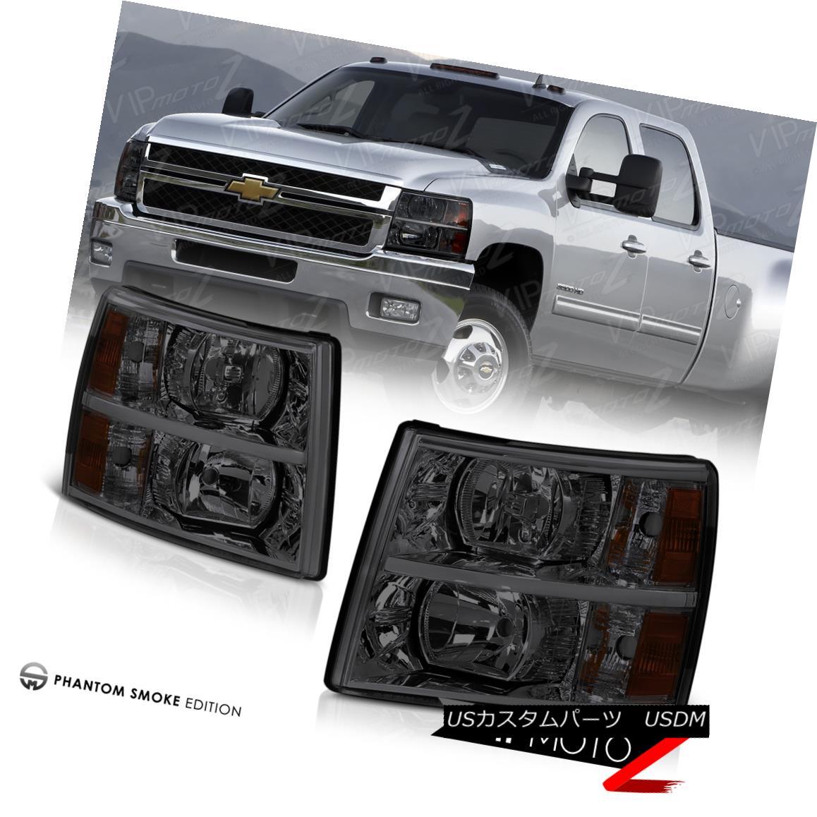 ヘッドライト Chevy Silverado 2007-2014 Left+Right Smoke Headlight Amber Signal Parking Lamps Chevy Silverado 2007-2014 Left + Rightスモークヘッドライトアンバーシグナルパーキングランプ