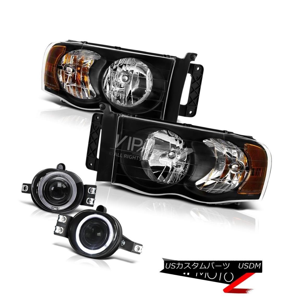 ヘッドライト 02-05 Dodge RAM 1500/2500 ST Black Headlight+Halo Projector Fog Light+Wiring Kit 02-05ドッジRAM 1500/2500 STブラックヘッドライト+ハロープロジェクターフォグライト+配線キット
