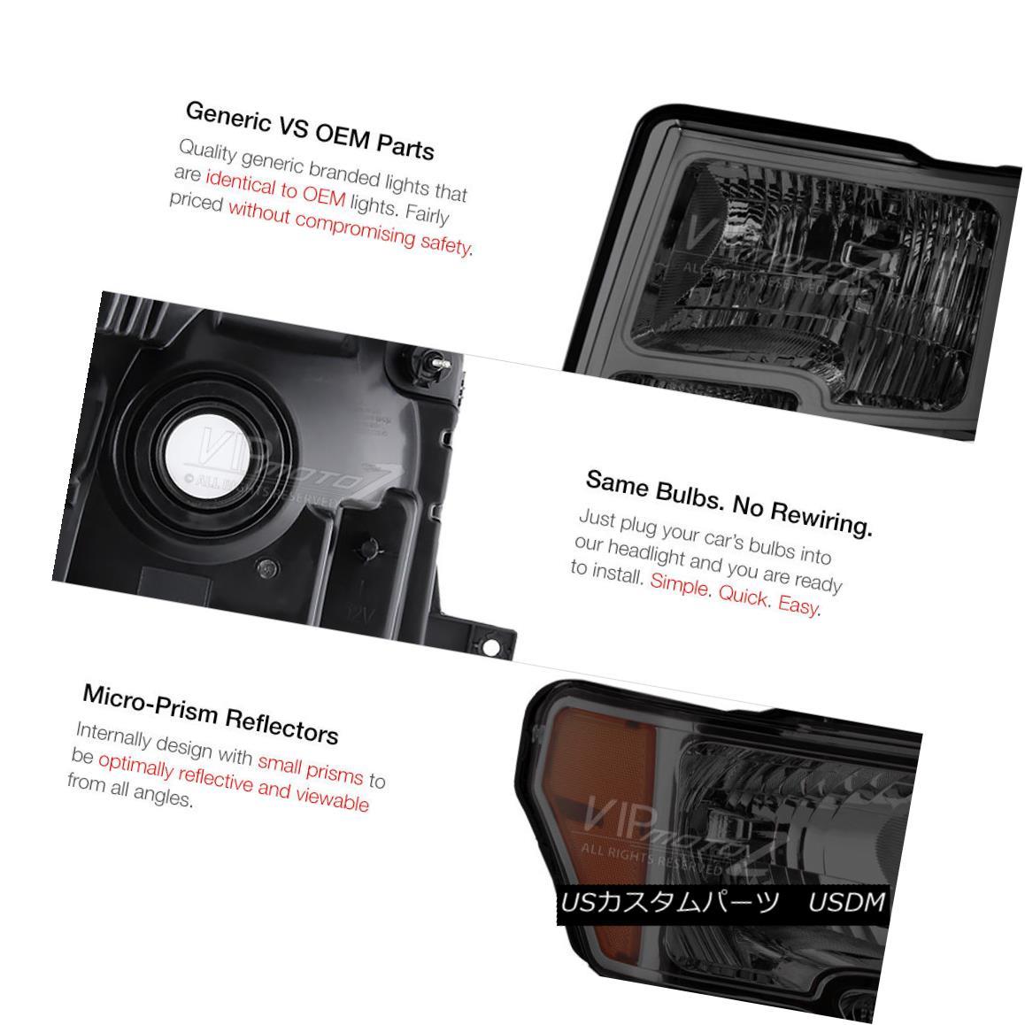 2009-2014 Ford F 150 Euro Smoke Lens Headlights w// Reflector+LED Fog Bumper DRL
