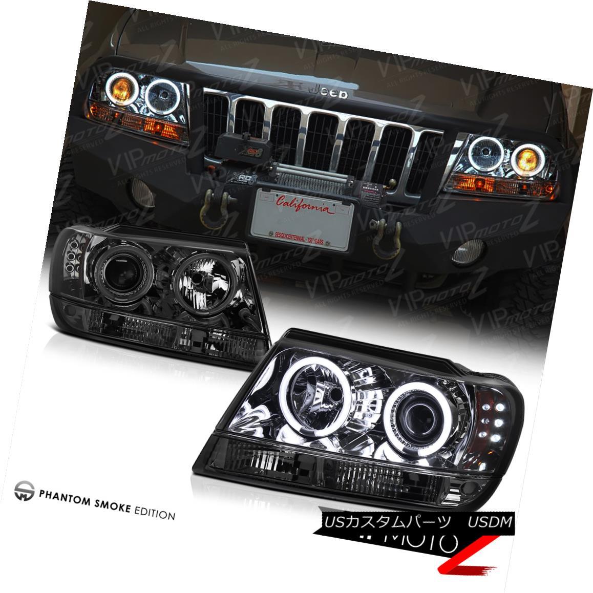 ヘッドライト Jeep Grand Cherokee Limited 99-03 *CCFL HALO* LED Projector Headlights Smoke ジープグランドチェロキーリミテッド99-03 * CCFLハロー* LEDプロジェクターヘッドライトスモーク
