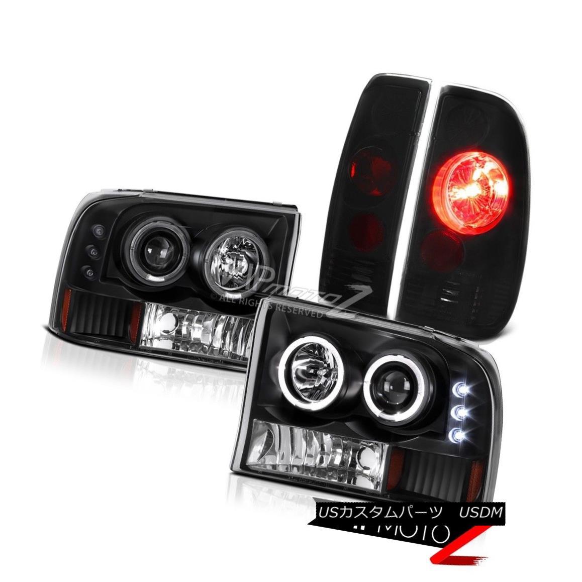 ヘッドライト 1999-2004 F250 F350 SuperDuty SD Black Halo LED Projector Headlights+Tail Lights 1999-2004 F250 F350 SuperDuty SDブラックハローLEDプロジェクターヘッドライト+タイ lライト