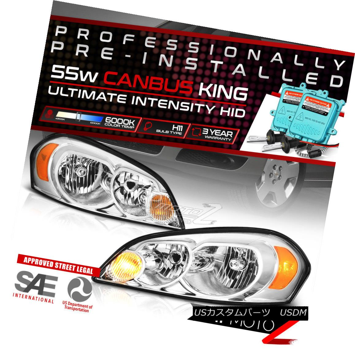 ヘッドライト Built-In HID Low Beam Factory Style Chrome Headlights For 2006-2013 Chevy Impala 2006-2013シボレーインパラ用HIDロービームファクトリースタイルクロームヘッドライトを内蔵
