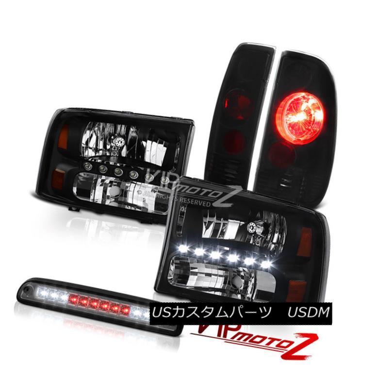 ヘッドライト Left Right Headlamps Third Brake Cargo LED Sinister Black 1999-2004 F250 7.3L 左ライトヘッドランプ第3ブレーキカーゴLEDシニスターブラック1999-2004 F250 7.3L