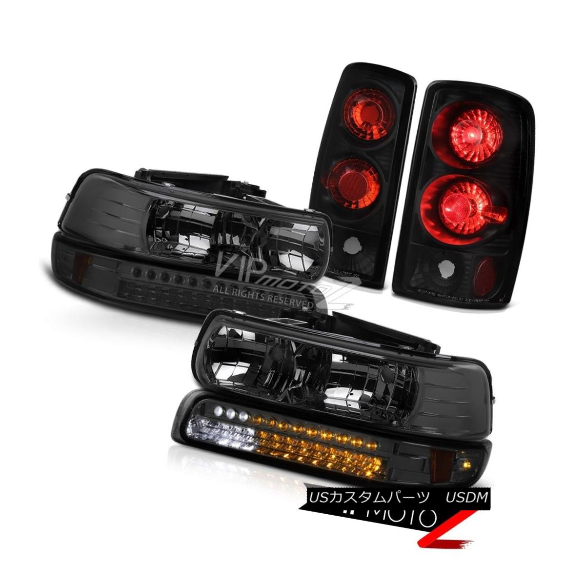 ヘッドライト Crystal Tinted Headlights LED Smoke Bumper Rear Black Taillamps 2000-2006 Tahoe クリスタルティンテッドヘッドライトLEDスモークバンパーリアブラックタイアランプ2000-2006タホ