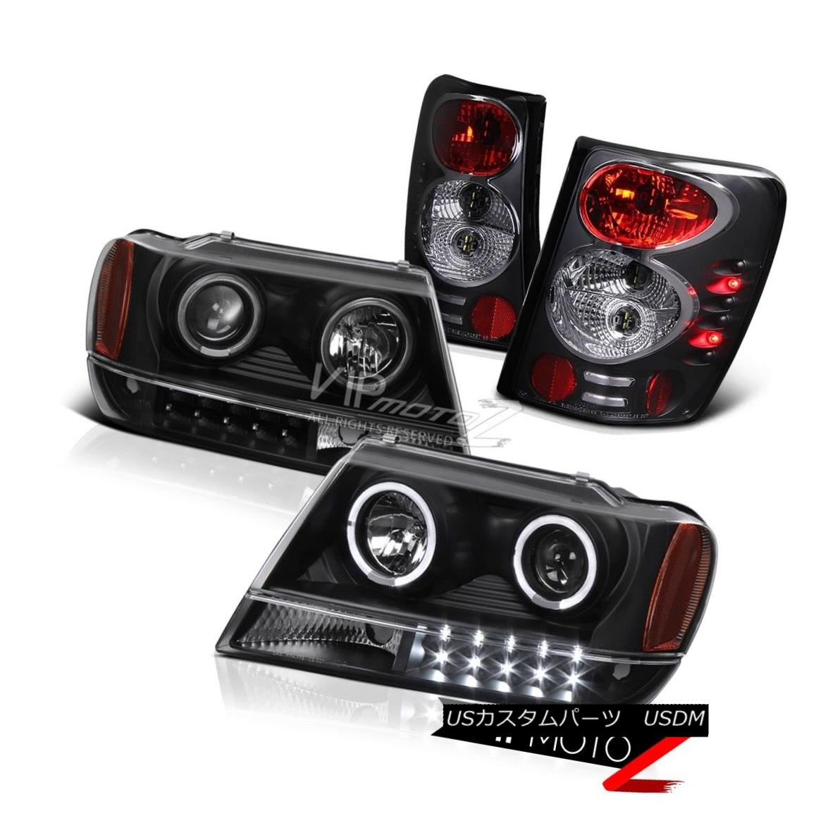 ヘッドライト 99-04 JEEP GRAND CHEROKEE WG WJ L+R BLACK LED HALO PROJECTOR HEADLIGHT+TAILLIGHT 99-04 JEEP GRAND CHEROKEE WG WJ L + R BLACK LEDハロープロジェクターヘッドライト+テール ライト