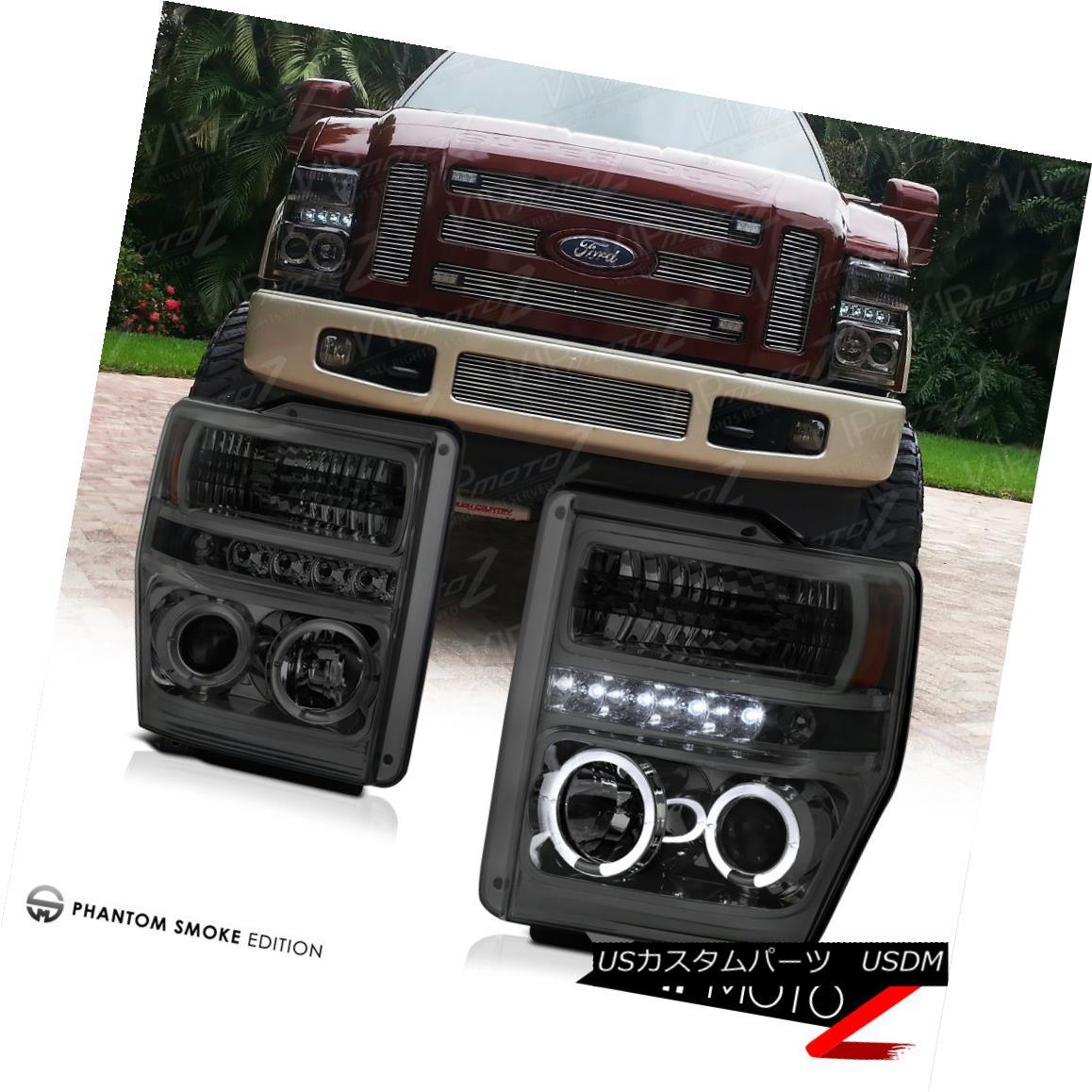 ヘッドライト Ford F250 F350 F450 SuperDuty 2008-2010 Smoke Tint Halo LED Projector Headlight フォードF250 F350 F450 SuperDuty 2008-2010スモークティントハローLEDプロジェクターヘッドライト