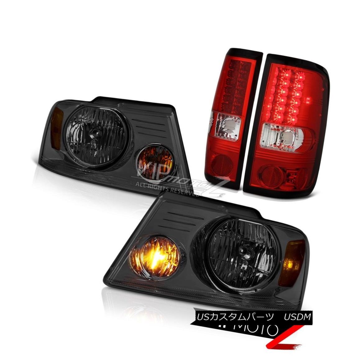 ヘッドライト 2004-2008 Ford F150 Truck LED Red Brake Lamp Tail Lights Smoke Tinted Headlights 2004-2008フォードF150トラックLEDレッドブレーキランプテールライト煙がかかったヘッドライト