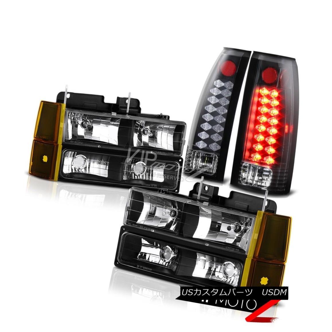 ヘッドライト 94-98 Sierra 3500 Inky Black Tail Lamps Headlamps Corner LED SMD