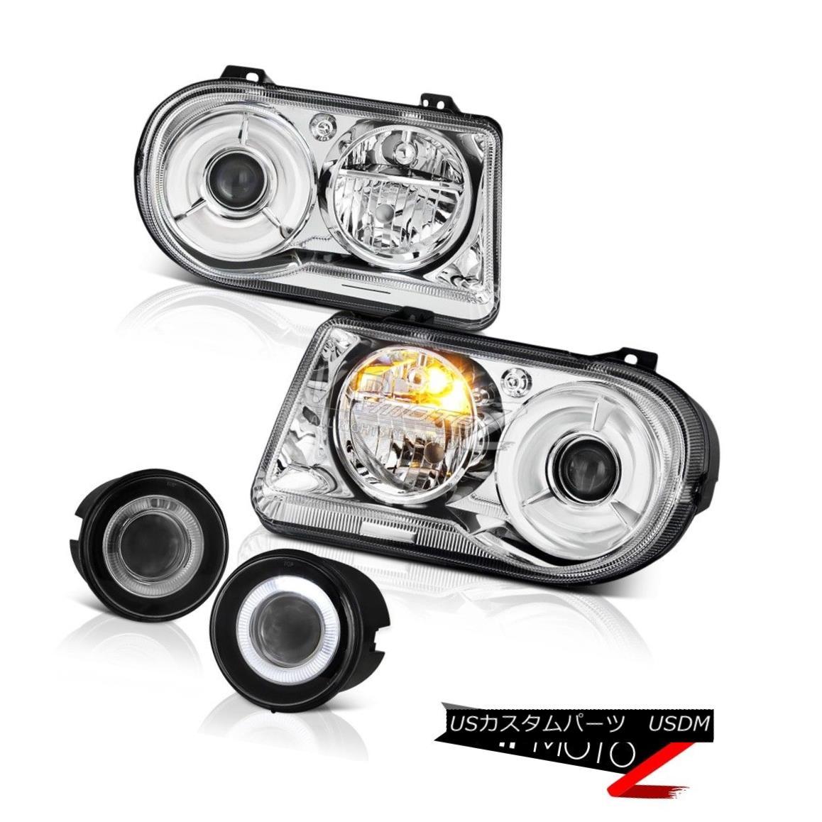 ヘッドライト 05-07 Chrysler 300C 6.1L Chrome Headlights Clear Headlamps Projector Foglights 05-07クライスラー300Cクロームヘッドライトクリアヘッドランププロジェクターフォグライト