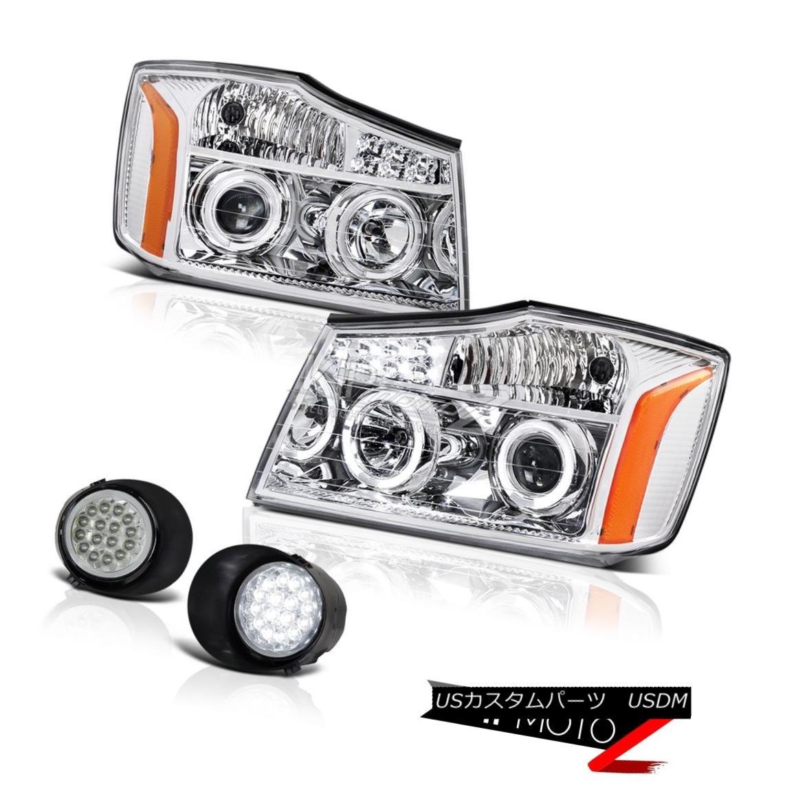 ヘッドライト For 2004-2015 Titan 4X4 Dual Angel Eye Headlight LED Euro Chrome Bumper Foglight 2004年?2015年Titan 4X4デュアルエンジェルアイヘッドライトLEDユーロクロムバンパーフォグライト