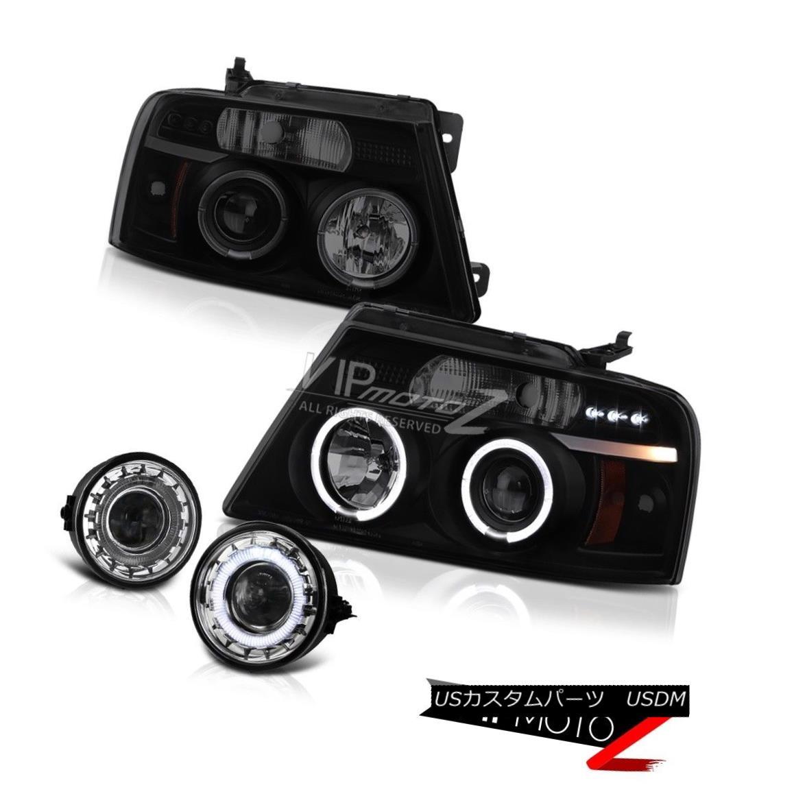 ヘッドライト 2004-2008 Ford F150 Halo SINSTER BLACK Angel Eye Headlight Chrome Clear Foglight 2004-2008 Ford F150 Halo SINISTER BLACKエンジェルアイヘッドライトクロームクリアフォグライト