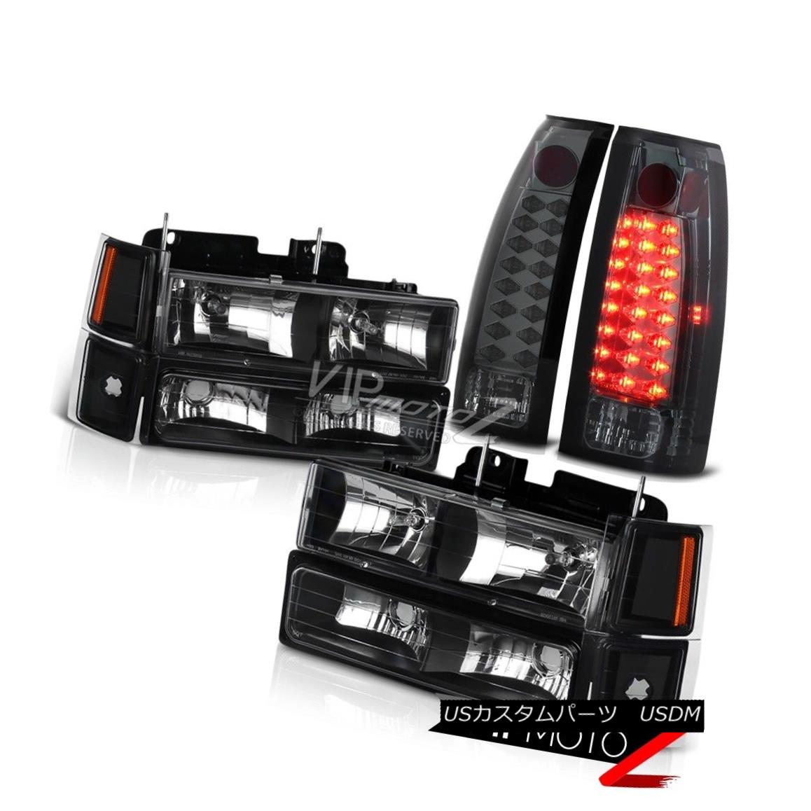 ヘッドライト Smoke Tail Light w LED Headlamps 94-98 Chevy C10 C/K Suburban 1500 2500 Parking スモークテールライトw LEDヘッドランプ94-98シボレーC10 C / K郊外1500 2500駐車場