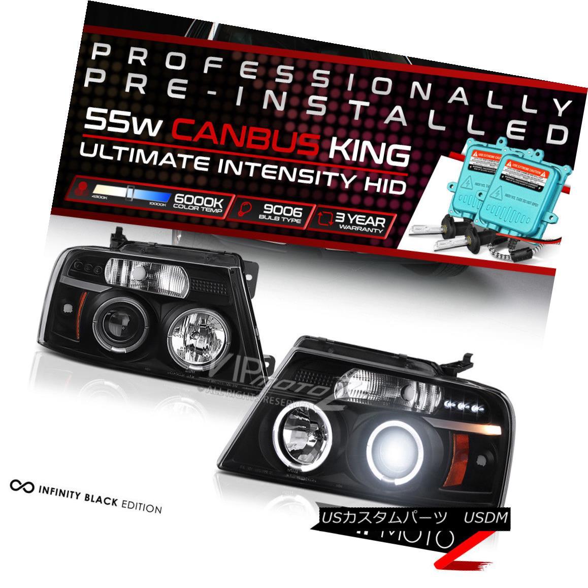 ヘッドライト [Pre-Installed HID Low Beam] 2004-2008 Ford F150 FX4 Black Projector Headlights [プリインストールされたHIDロービーム] 2004-2008 Ford F150 FX4ブラックプロジェクターヘッドライト