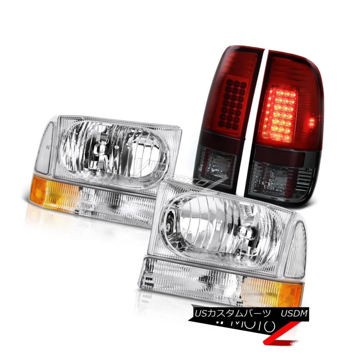 ヘッドライト Chrome Headlamps Headlights Smokey Red Tail Light 99-04 F250 F350 5.4L SuperDuty クロームヘッドランプヘッドライトスモークレッドテールライト99-04 F250 F350 5.4LスーパーDuty