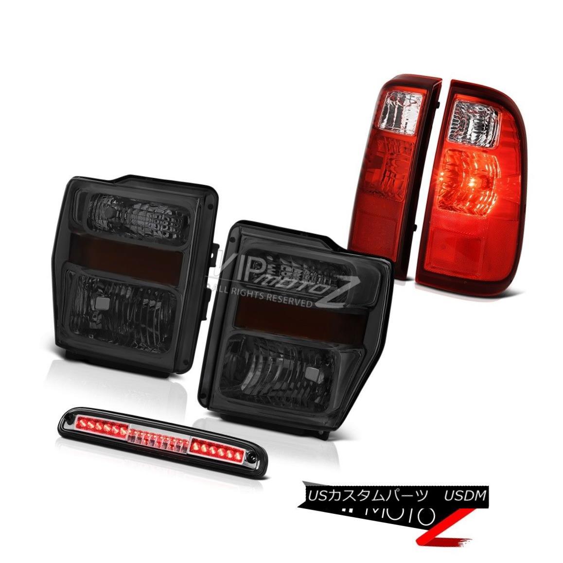 ヘッドライト Smoke Tinted Headlamps High Stop LED Chrome Red Tail Lamps 2008-2010 F250 Lariat スモークティンテッドヘッドランプハイストップLEDクロームレッドテールランプ2008-2010 F250 Lariat