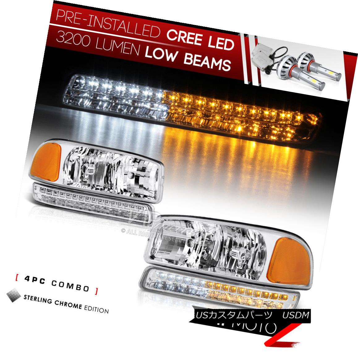ヘッドライト !PRE-INSTALLED LED LOW BEAM! 00-06 GMC Sierra Yukon SET Headlights Bumper Lamps !プレインストールLEDロービーム! 00-06 GMC Sierra Yukon SETヘッドランプバンパーランプ