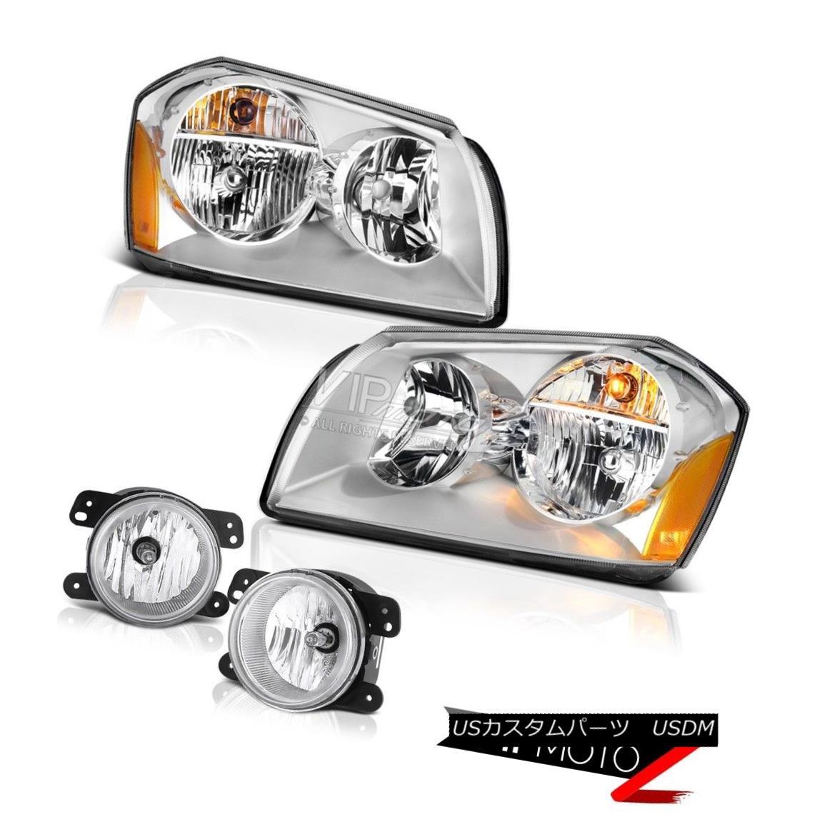ヘッドライト 05-07 Dodge Magnum Se Sterling Chrome Foglights Headlights Crystal Lens Assembly 05-07ダッジマグナムセスターリングクロムフォグライトヘッドライトクリスタルレンズアセンブリ