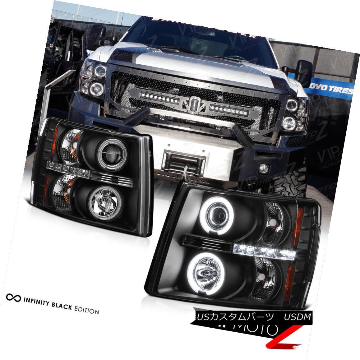 ヘッドライト 07-14 V8 Silverado 1500/2500/3500 HD CCFL Halo LED Projector Black Headlight L+R 07-14 V8 Silverado 1500/2500/3500 HD CCFL Halo LEDプロジェクターブラックヘッドライトL + R