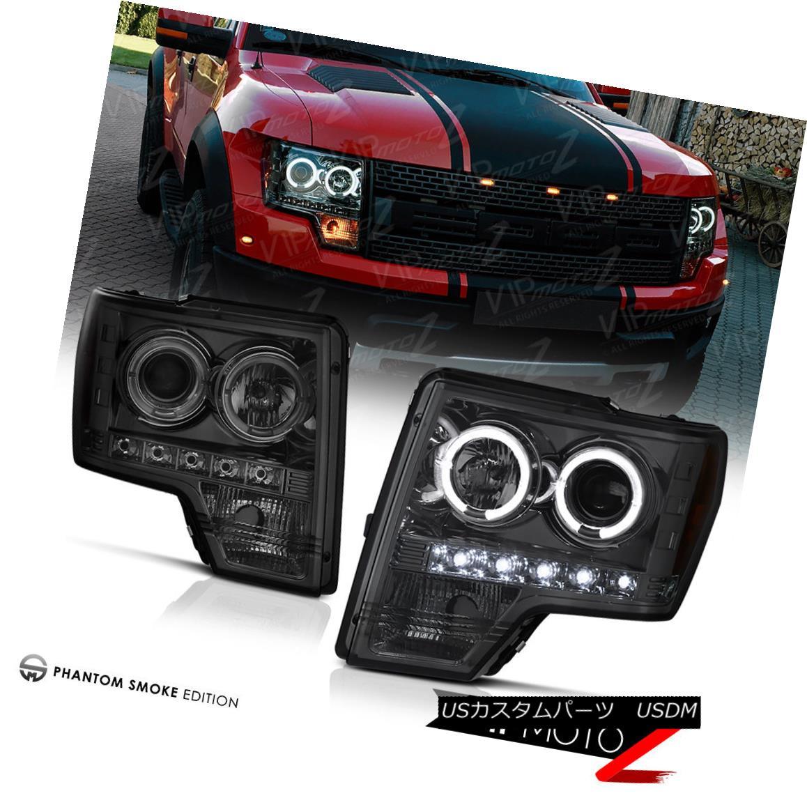 ヘッドライト 2009-2014 Ford F150 SMOKE LED DRL Halo Projector Headlights Headlamps LEFT+RIGHT 2009-2014 Ford F150 SMOKE LED DRLハロープロジェクターヘッドライトヘッドランプLEFT + RIGHT