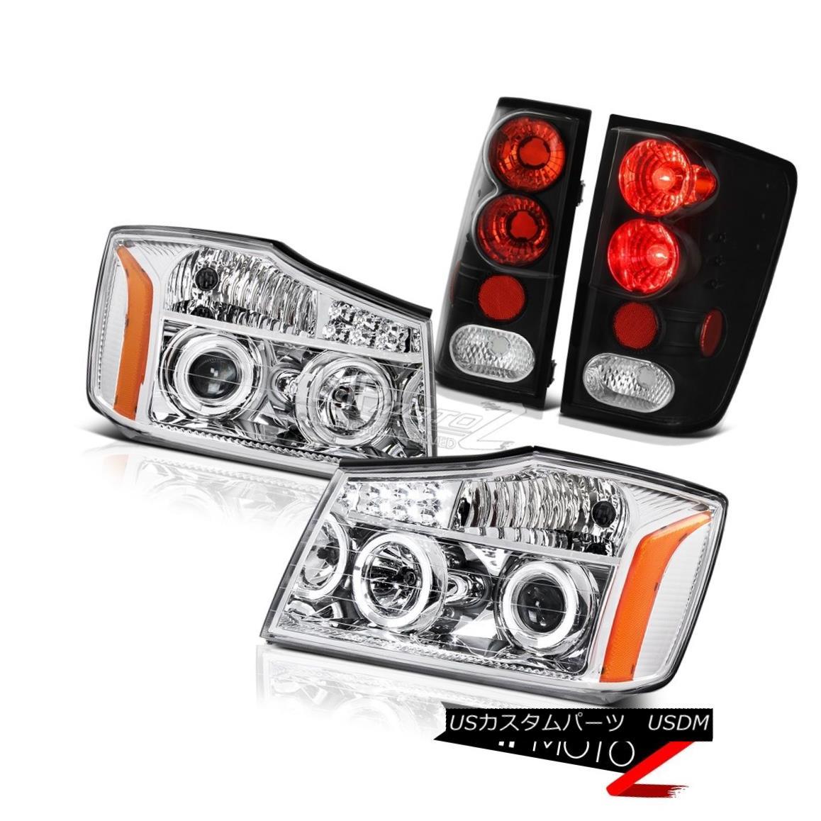 ヘッドライト For 2004-2015 Titan LE Euro L.E.D DRL Halo Headlights Signal Black Tail Lights 2004年?2015年Titan LE Euro L.E.D DRL Haloヘッドライトシグナルブラックテールライト
