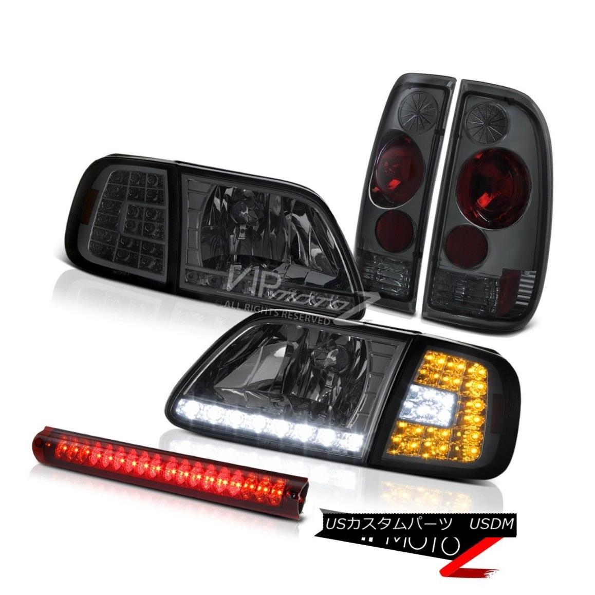 ヘッドライト 1997-2003 Ford F150 Corner SMD DRL Headlights Smoke Tail Lamps 3rd Brake Red LED 1997-2003フォードF150コーナーSMD DRLヘッドライトスモークテールランプ第3ブレーキ赤色LED