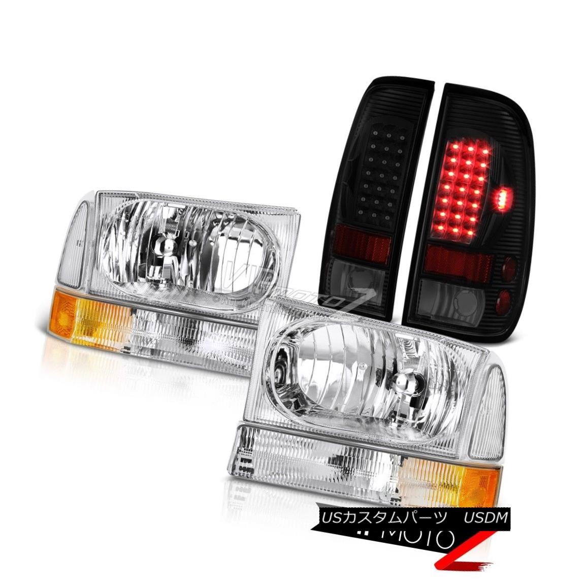 ヘッドライト 99-04 F350 6.0L Sterling Chrome Headlights Smoke Tinted Parking Brake Lights 99-04 F350 6.0Lスターリングクロームヘッドライトスモークティンテッドパーキングブレーキライト
