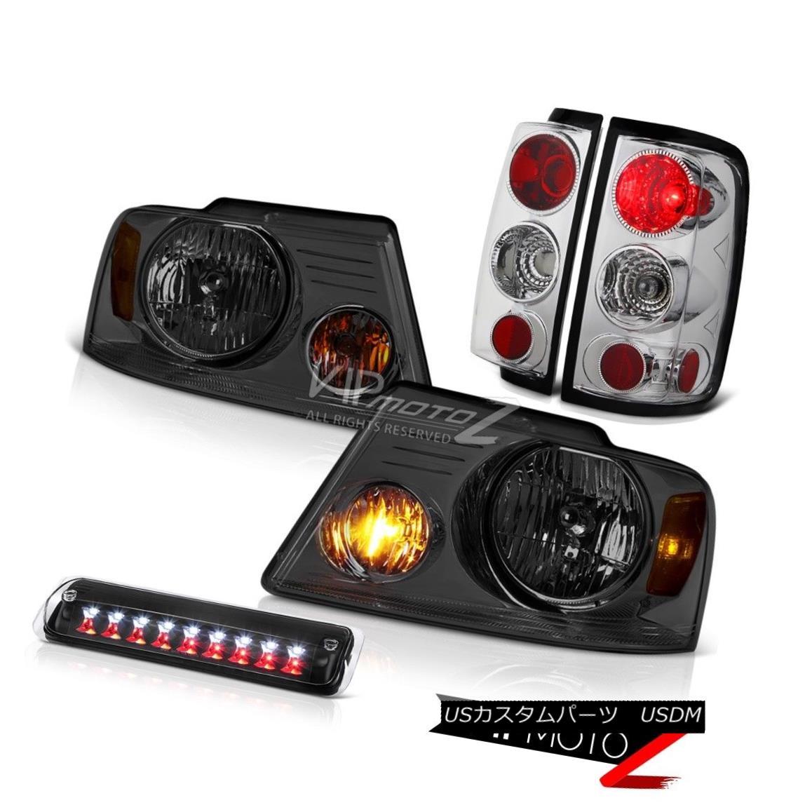 ヘッドライト 04 05 06 07 08 Ford F150 XLT Smokey Headlights Black 3RD Brake Light Tail Lamps 04 05 06 07 08フォードF150 XLTスモーキーヘッドライトブラック3RDブレーキライトテールランプ