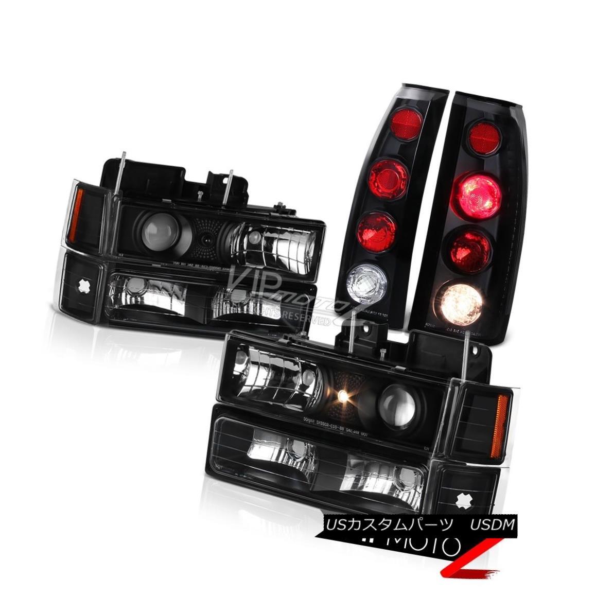 ヘッドライト 1994-1998 Chevy Silverado Suburban Tahoe Black Corner Tail Light Headlights Lamp 1994-1998シボレーシルバラード郊外のタホーブラックコーナーテールライトヘッドライトランプ