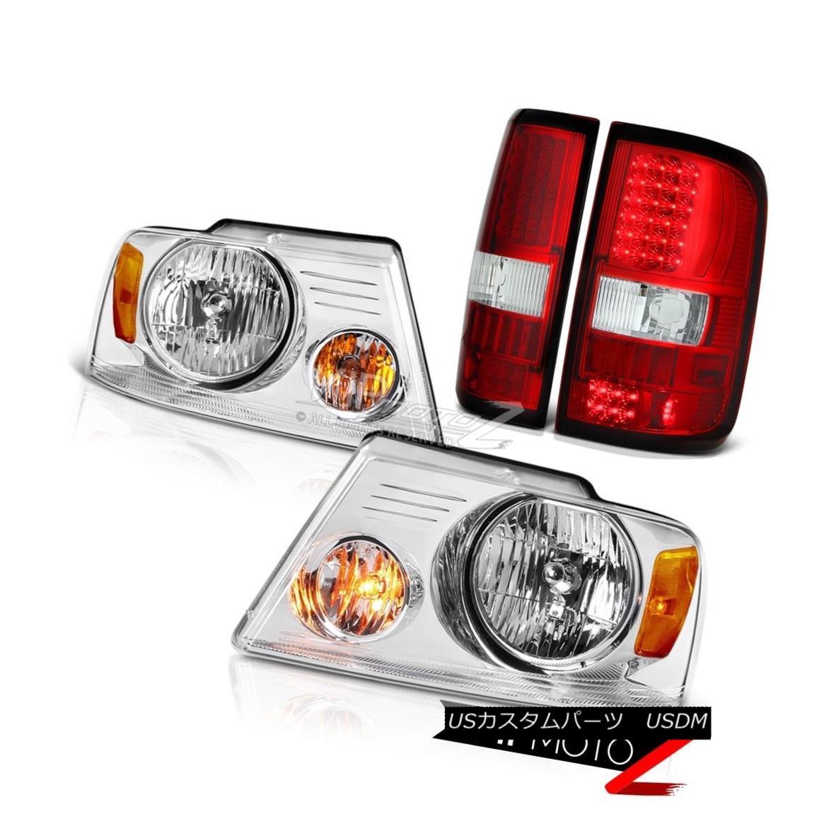 ヘッドライト 2004-2008 Ford F150 Bright Red LED Brake Lamp Tail Lights Chrome Amber Headlight 2004-2008フォードF150ブライトレッドLEDブレーキランプテールライトクロームアンバーヘッドライト