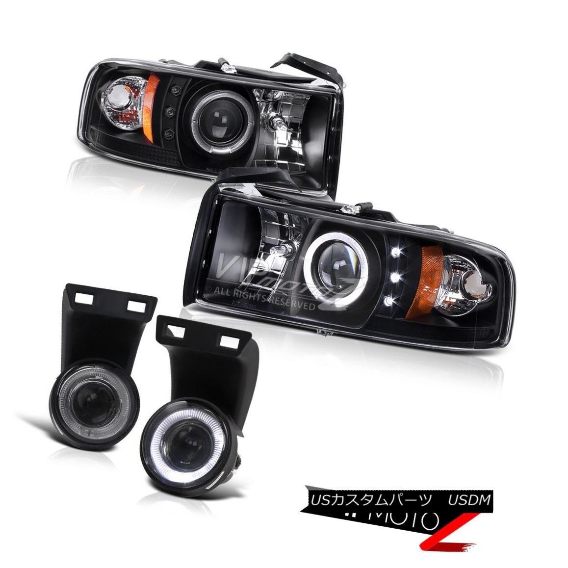 ヘッドライト Dodge 94-01 RAM L+R Black HaLo Projector Headlight+Smoke Angel Eye Fog Light Kit ドッジ94-01 RAM L + Rブラックハロープロジェクターヘッドライト+スモーク eエンジェルアイフォグライトキット
