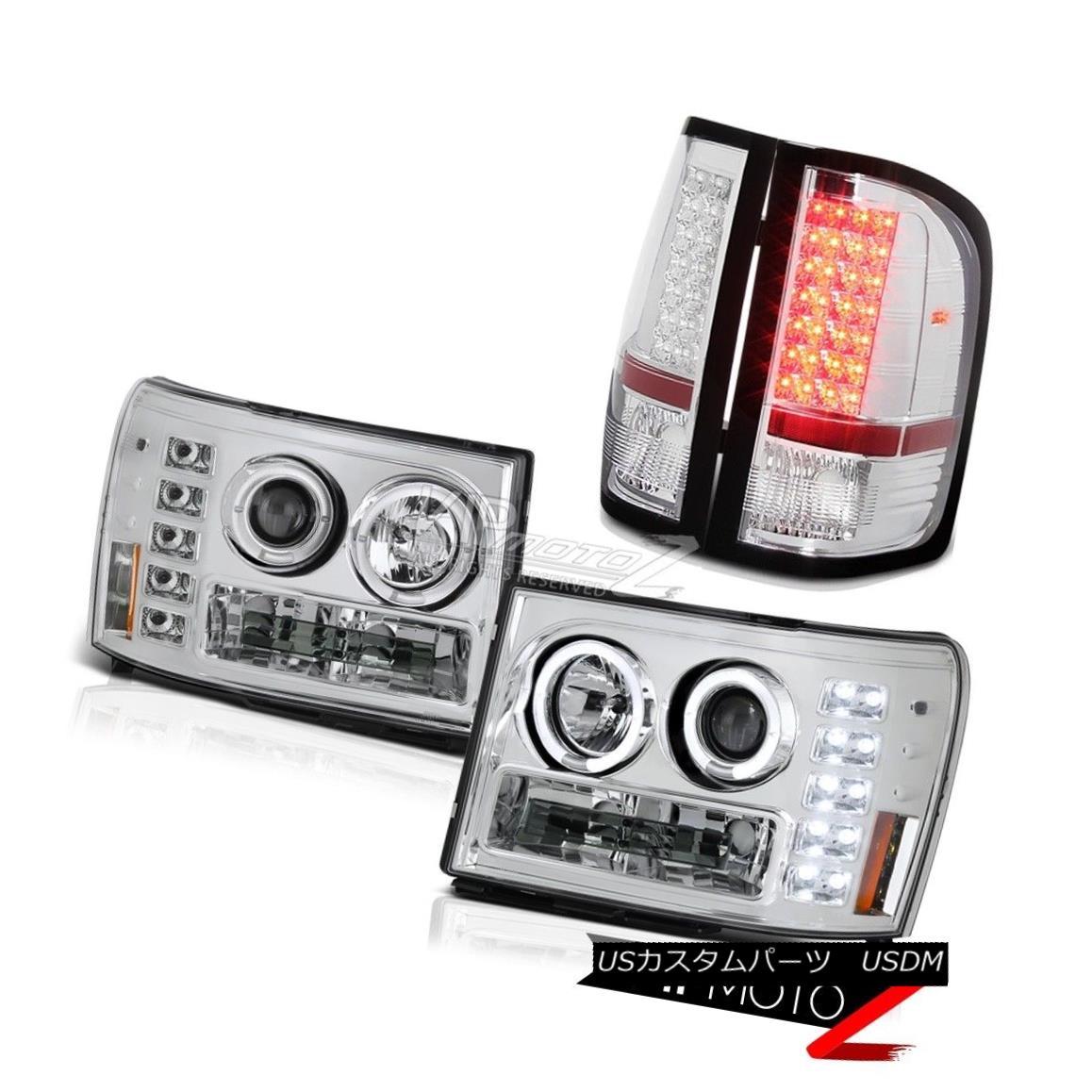 ヘッドライト GMC Sierra 08-14 3500 WT Crystal Halo LED Headlights Sterling Chrome Tail Lights GMC Sierra 08-14 3500 WTクリスタルハローLEDヘッドライトSterling Chrome Tail Lights
