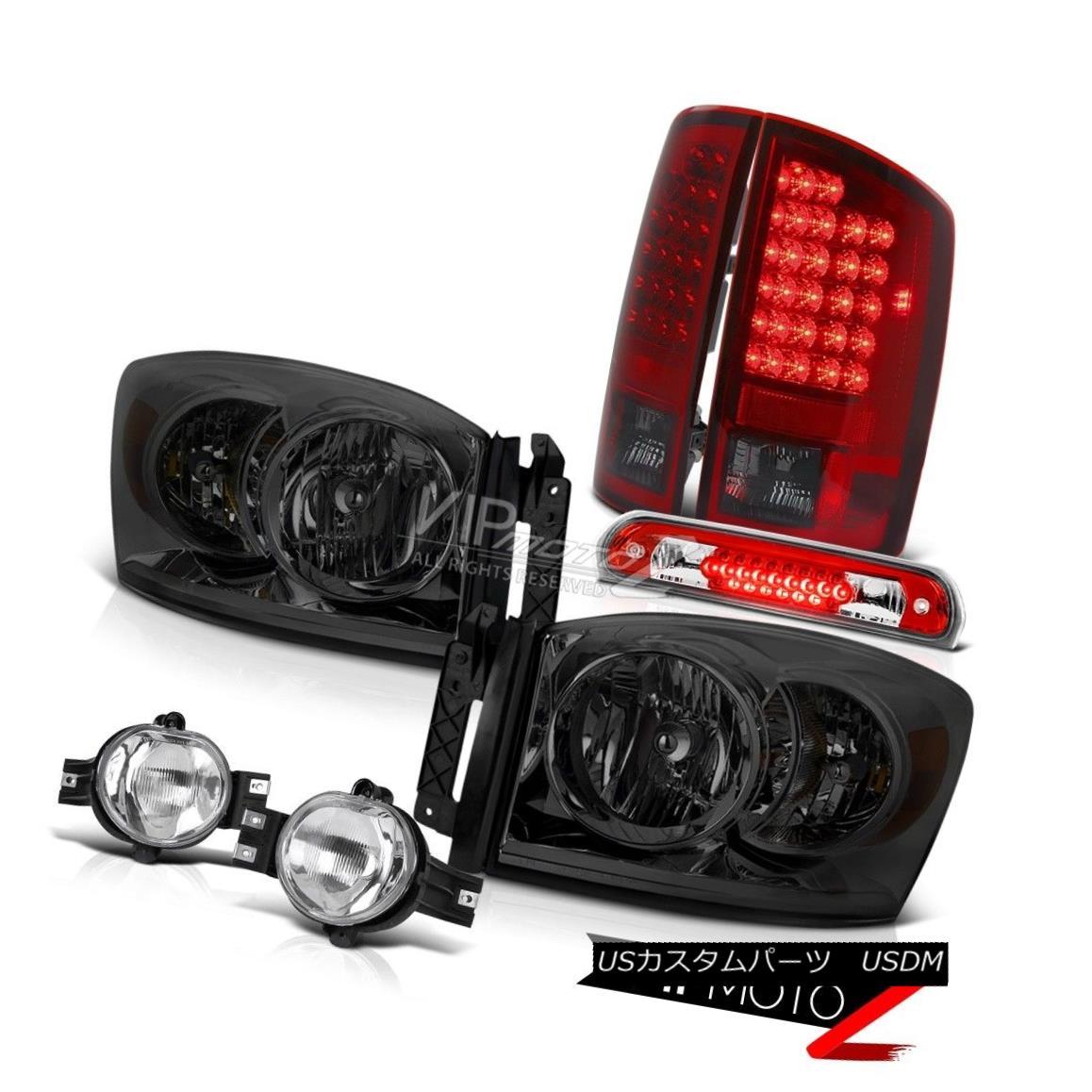 ヘッドライト 2006 Ram V6 Dark Smoke Headlights Smokey Red Tail Light Fog Wine Third Brake LED 2006 Ram V6ダークスモークヘッドライトスモーキーレッドテールライトフォッグワイン第3ブレーキLED