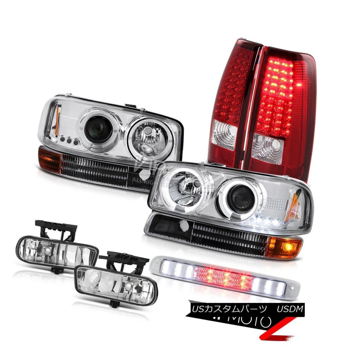 ヘッドライト Halo LED Projector Headlights LH+RH Brake Lights Fog High Cargo 99-02 Sierra SLE Halo LEDプロジェクターヘッドライトLH + RHブレーキライトFog High Cargo 99-02 Sierra SLE