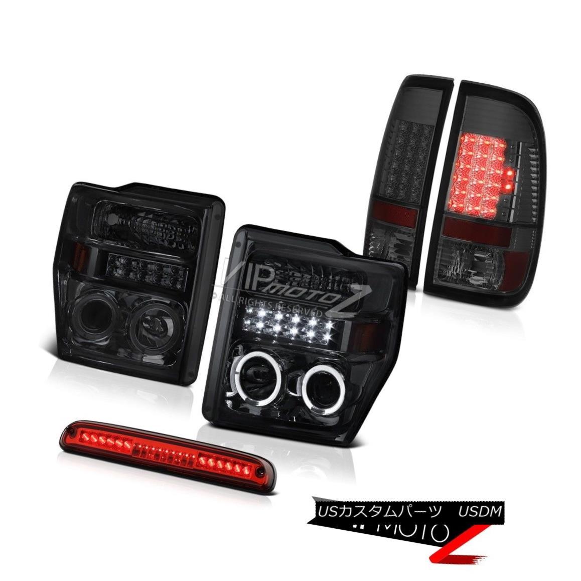 ヘッドライト 08 09 10 F250 6.8L Dark Halo Projector Headlights Signal Tail Lights 3rd Red LED 08 09 10 F250 6.8Lダークハロープロジェクターヘッドライト信号テールライト第3赤色LED