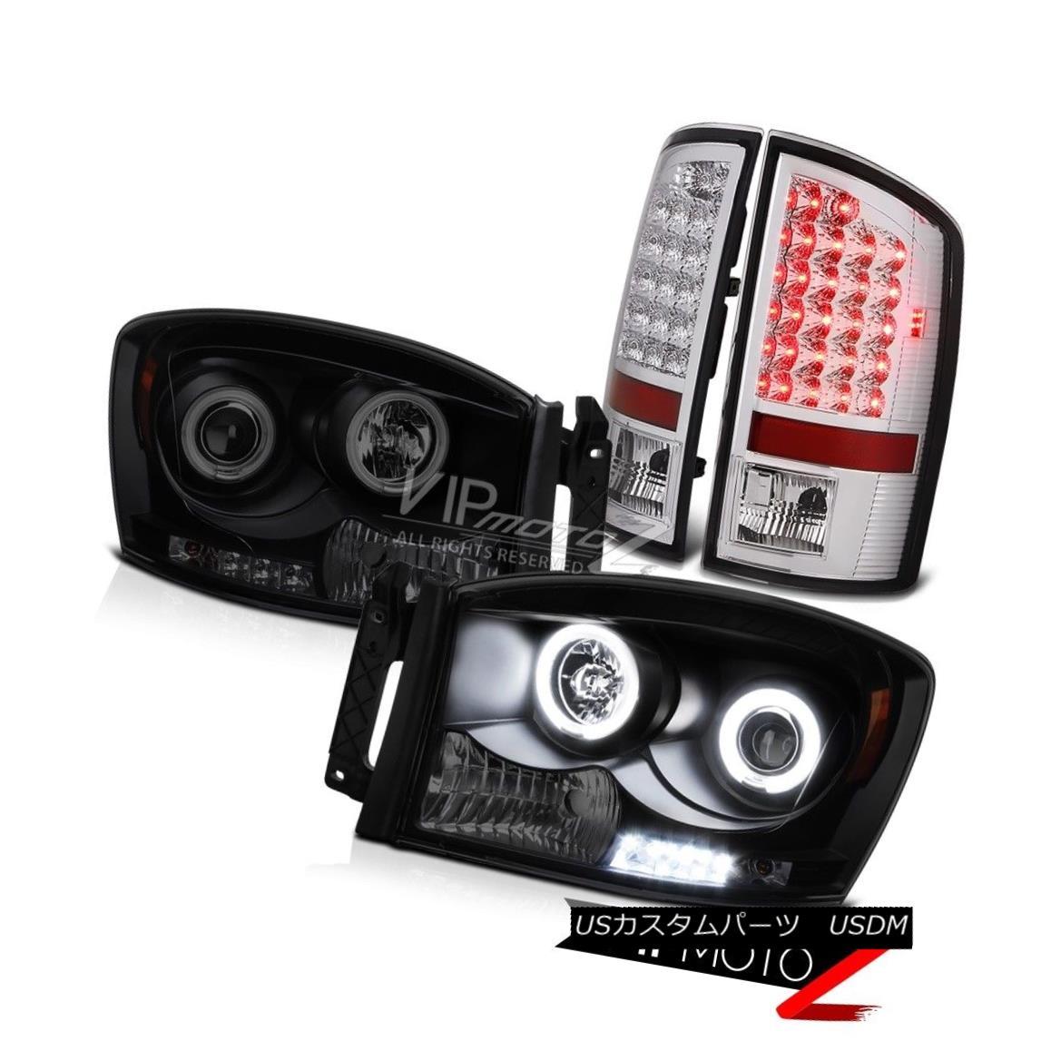 ヘッドライト Projector Headlight Sinister Black CCFL Halo Chrome Tail Lamps Ram V8 SLT 07 08 プロジェクターヘッドライトSinister Black CCFL Halo ChromeテールランプRam V8 SLT 07 08