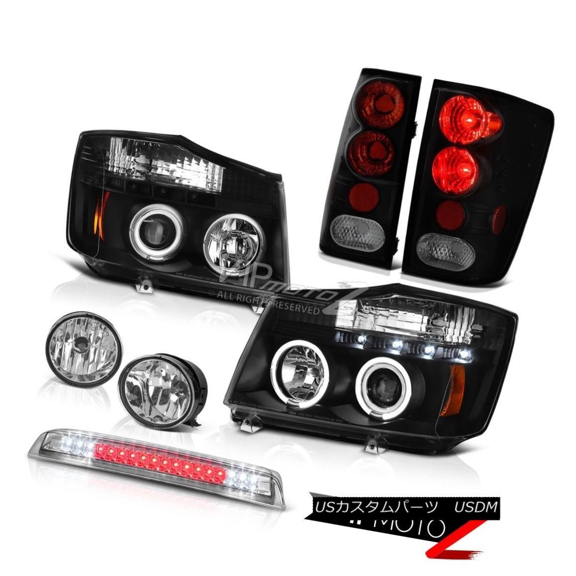 ヘッドライト Black LED Headlight Rear Tail Driving Fog Roof Stop Clear For 2004-2015 Titan ブラックLEDヘッドライトリアテールは、2004年?2015年のタイタンで霧の屋根を止めています