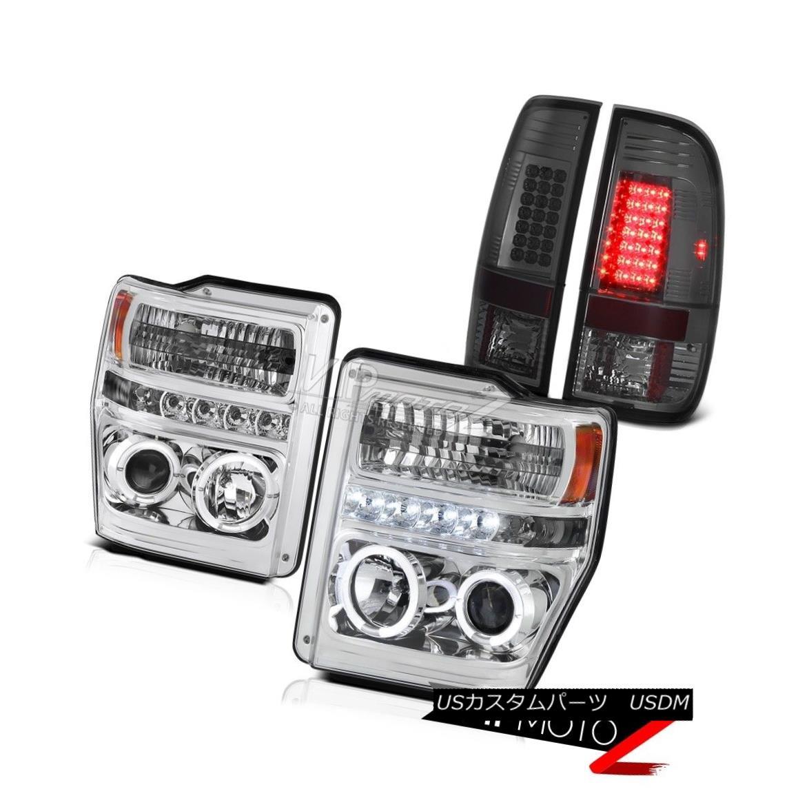 ヘッドライト Chrome Halo LED Headlights LED Tail Lights Smoke Ford F250 Powerstroke XLT 08-10 クロームハローLEDヘッドライトLEDテールライトスモークフォードF250パワーストロークXLT 08-10