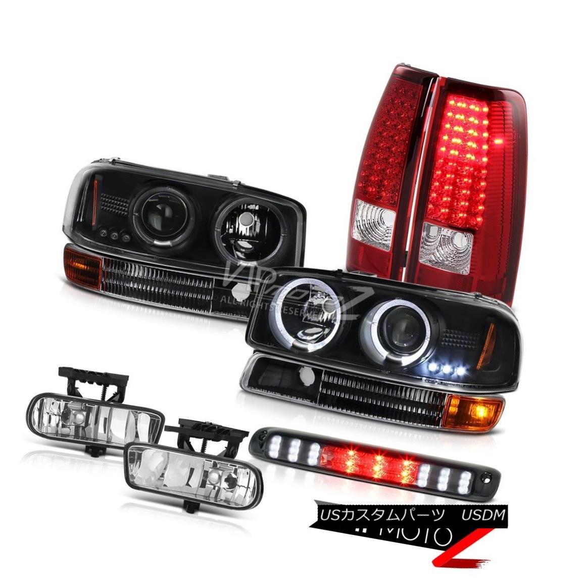 ヘッドライト 1999-2002 Sierra LED Angel Eye Projector Headlights Parking Red Tail Lights Fog 1999-2002シエラLEDエンジェルアイプロジェクターヘッドライトパーキングレッドテールライトフォグ