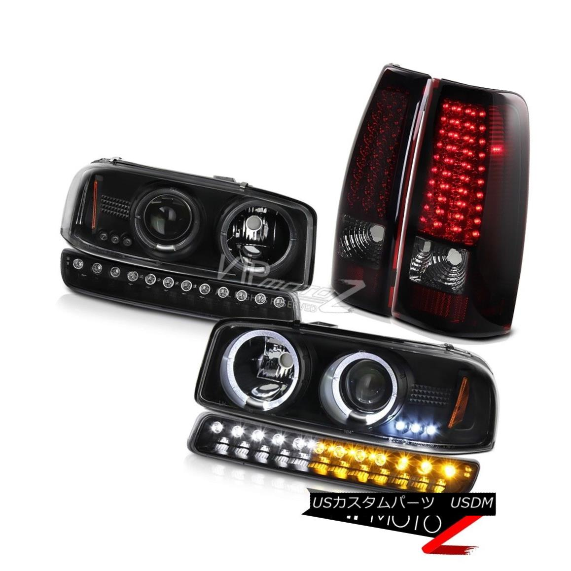 ヘッドライト 1999-2006 Sierra 6.0L Smokey red taillights raven black turn signal headlights 1999-2006シエラ6.0Lスモーキーレイルテールライトレーブンブラックターンシグナルヘッドライト