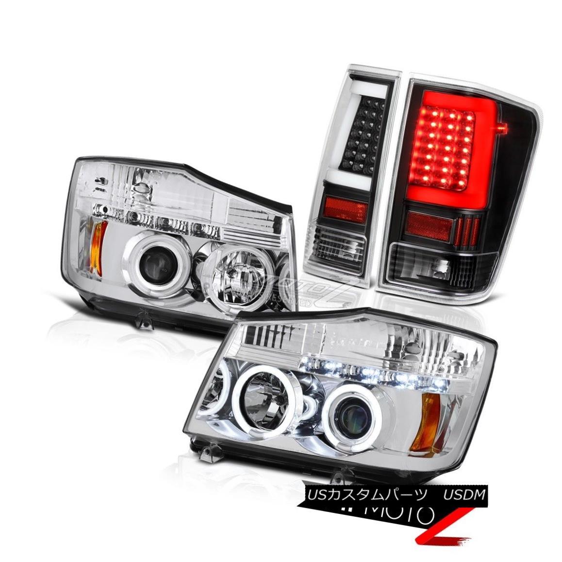ヘッドライト 04 05 06-14 For Nissan Titan Neon Tube Tail Crystal Clear Custom Head Lights Set 04 05 06-14日産タイタンネオンチューブテールクリスタルクリアカスタムヘッドライトセット