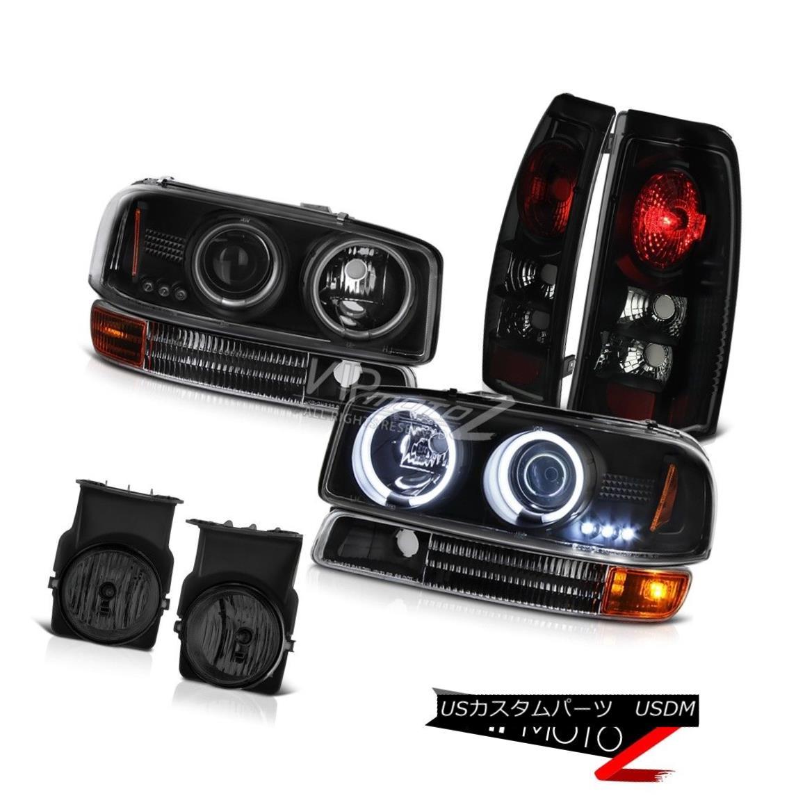 ヘッドライト Black CCFL Halo Headlights Signal Brake Tail Lamp Bumper Fog 2003 Sierra 4.3L V6 ブラックCCFL Haloヘッドライト信号ブレーキテールランプバンパーフォグ2003 Sierra 4.3L V6