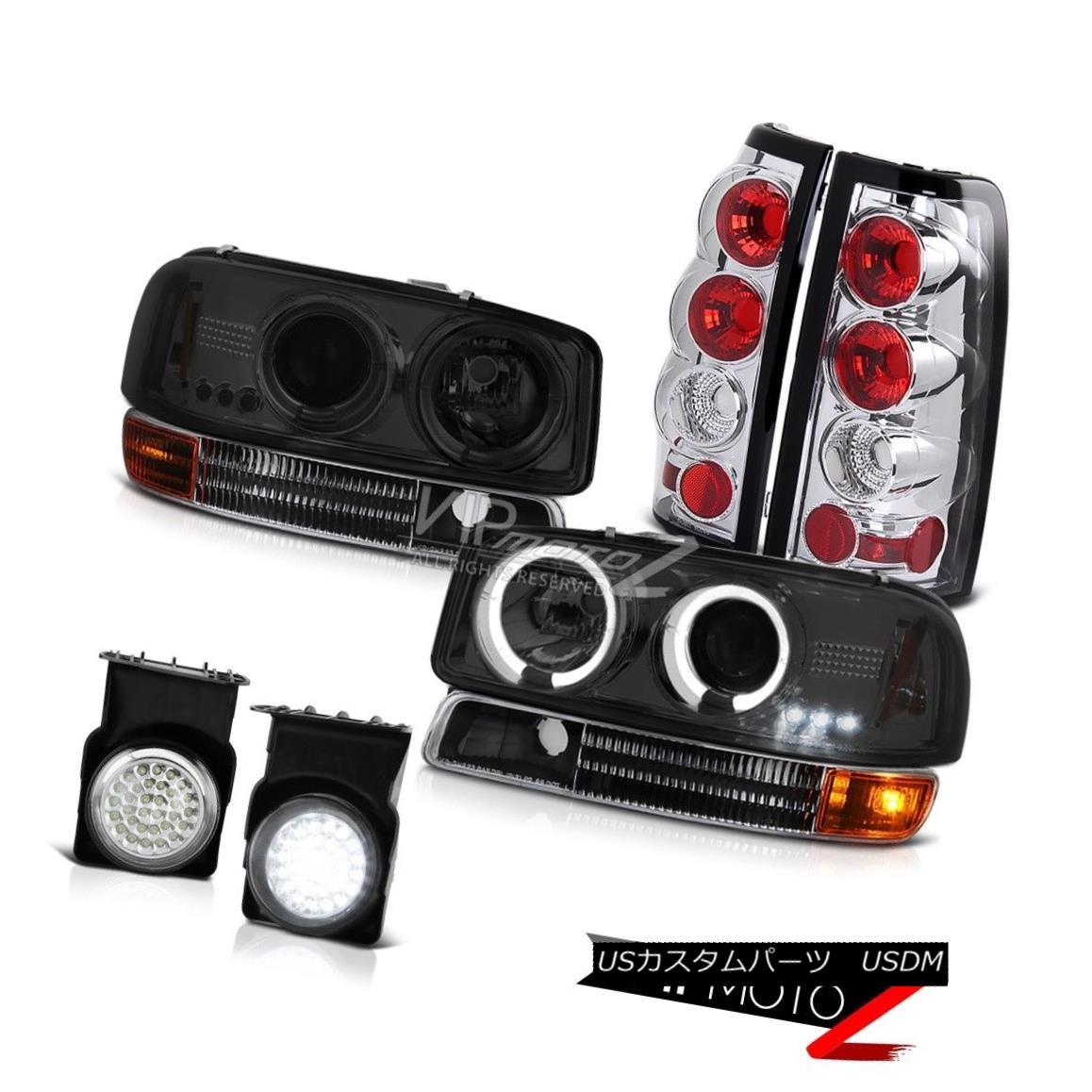ヘッドライト Headlamps Angel Eye 2003 Sierra 6.0L V8 Black Bumper Reverse Brake Lamps LED Fog ヘッドランプエンジェルアイ2003 Sierra 6.0L V8ブラックバンパーリバースブレーキランプLEDフォグ
