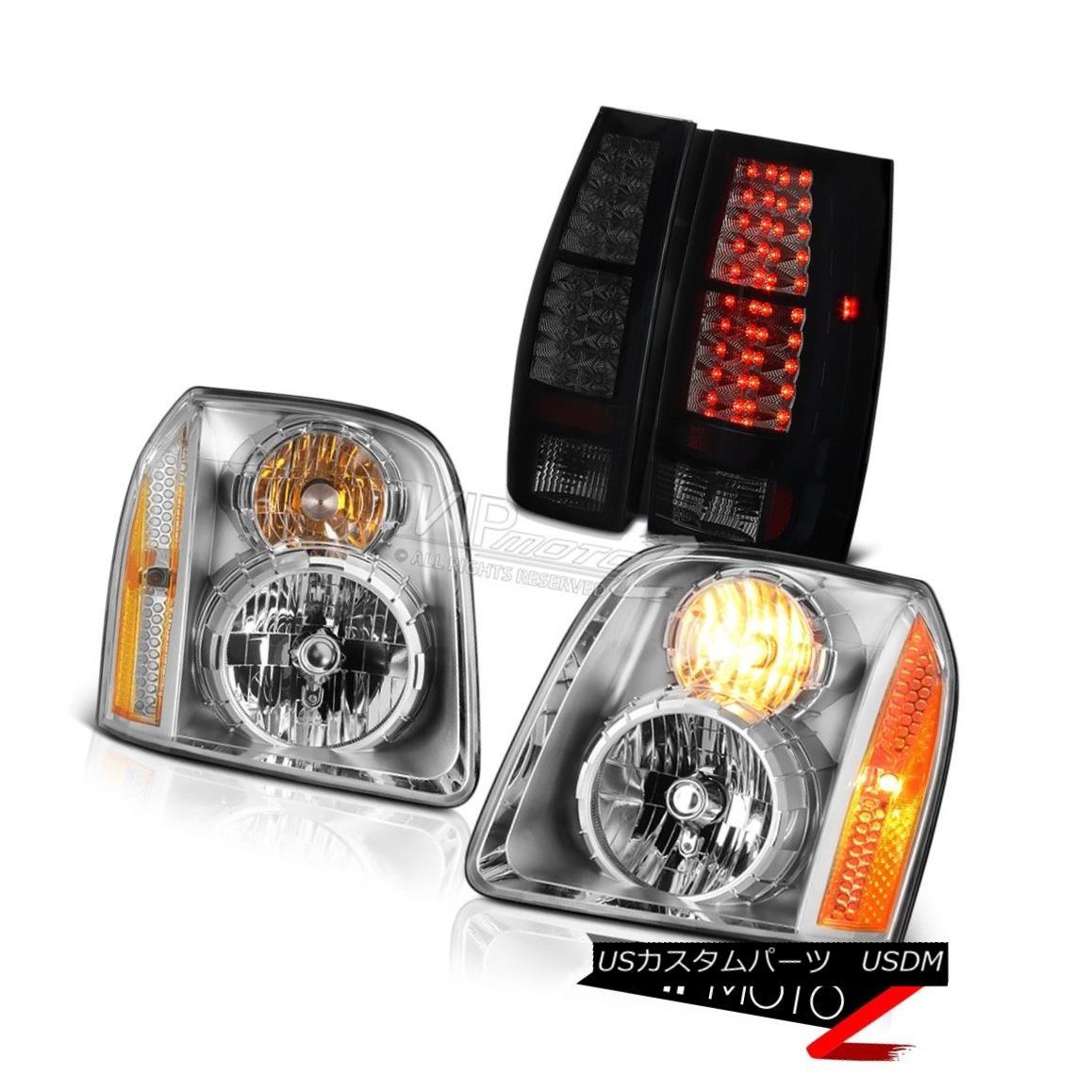 ヘッドライト 2007-2014 GMC Yukon SLT Darkest Smoke Tail Lights Crystal Clear Headlights LED 2007-2014 GMC Yukon SLT最暗煙テールライトクリスタルクリアヘッドライトLED