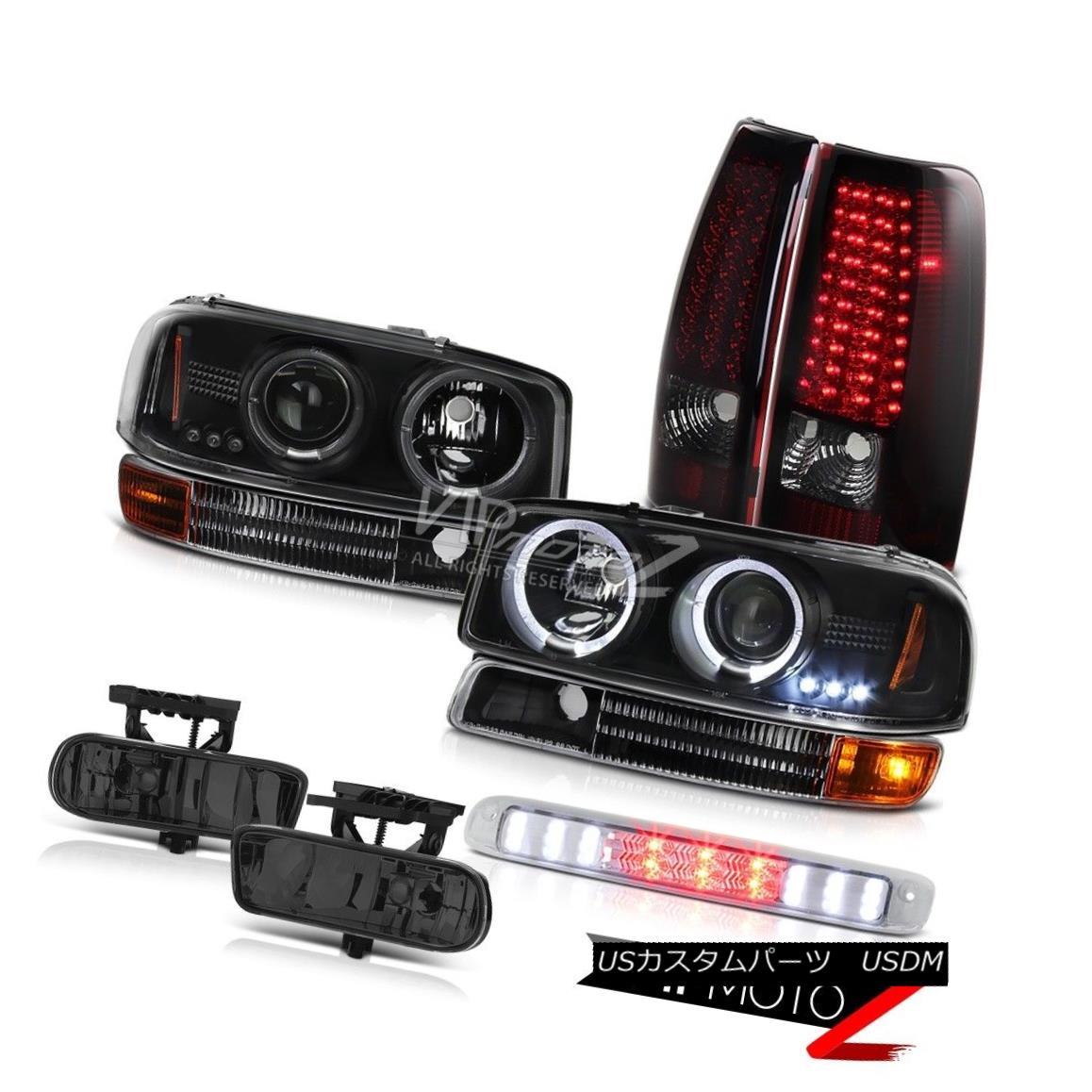 ヘッドライト Black Halo LED Headlights Red Smoke Tail Lights Foglamp Third Brake 99-02 Sierra ブラックハローLEDヘッドライト赤煙テールライトフォグランプ第3ブレーキ99-02 Sierra