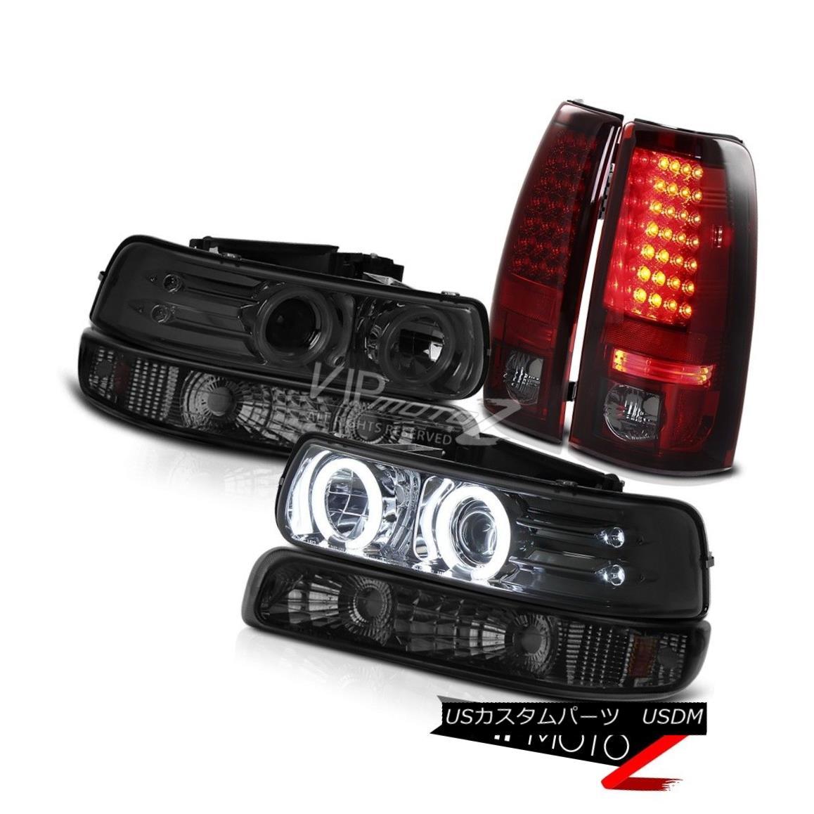 ヘッドライト 1999-2002 Chevrolet Silverado CCFL Halo Headlight Lamp Dark Red LED Tail Lights 1999-2002シボレーシルバラードCCFLハローヘッドライトランプダークレッド