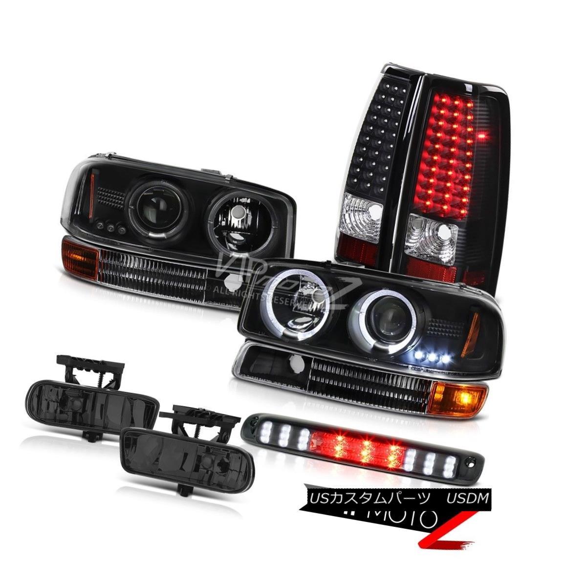 ヘッドライト 99-02 Sierra 5.3 V8 Matte Black Halo LED Headlight Parking Taillight Driving Fog 99-02シエラ5.3 V8マットブラックハローLEDヘッドライトパーキングテールライトドライビングフォグ