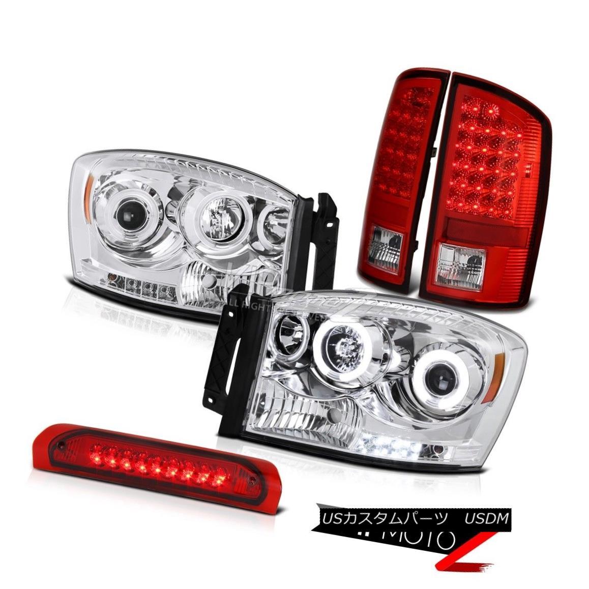 ヘッドライト CCFL Halo Projector Headlight+RED/CLEAR LED Taillamp+3rd Bake Lamp Dodge RAM 06 CCFL Haloプロジェクターヘッドライト+ RED /  CLEAR LEDテールランプ+ 3rdブレーキランプDodge RAM 06