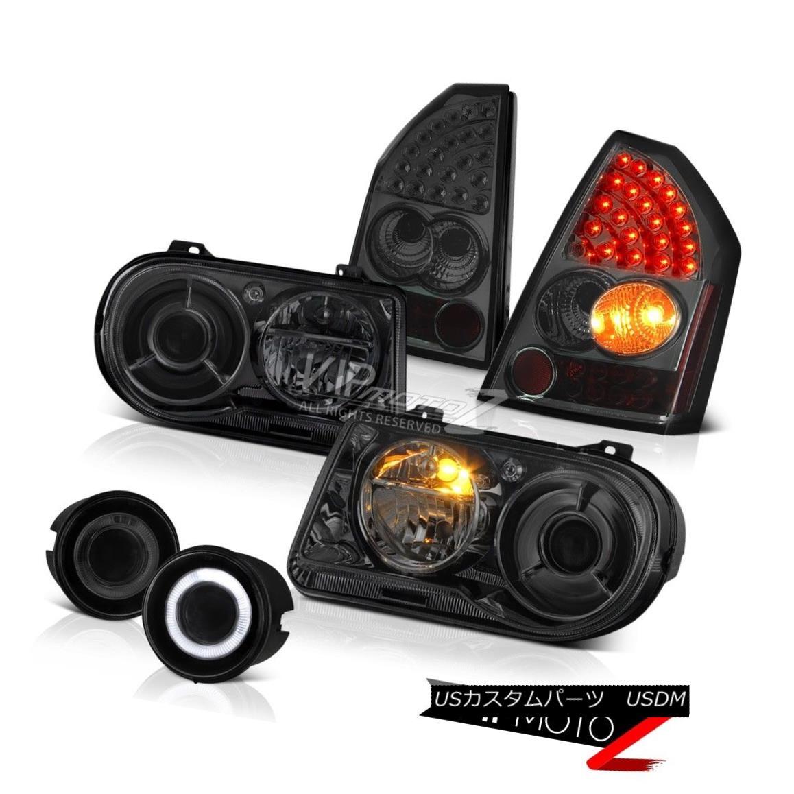 ヘッドライト 05 06 07 Chrysler 300C SRT8 Smoke Headlights LED Taillights Projector Bumper Fog 05 06 07クライスラー300C SRT8スモークヘッドライトLEDテールライトプロジェクターバンパーフォグ